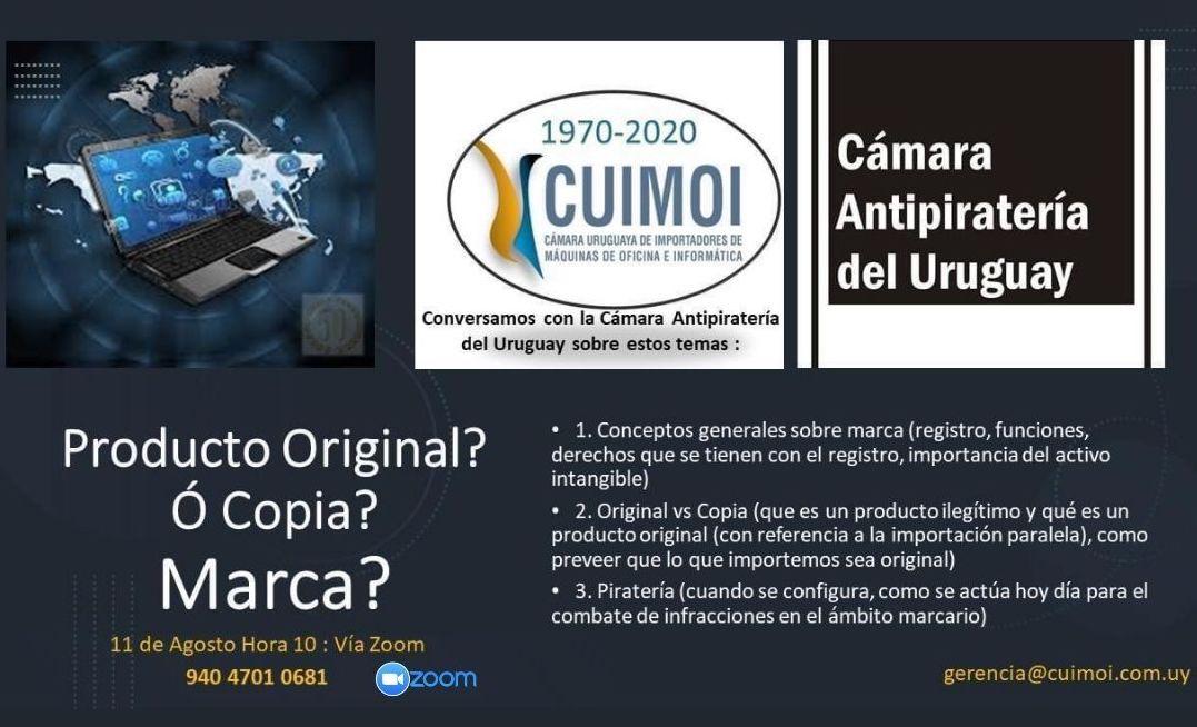 CUIMOI Y LA CÁMARA ANTIPIRATERÍA DEL URUGUAY TE INVITAN A PARTICIPAR .